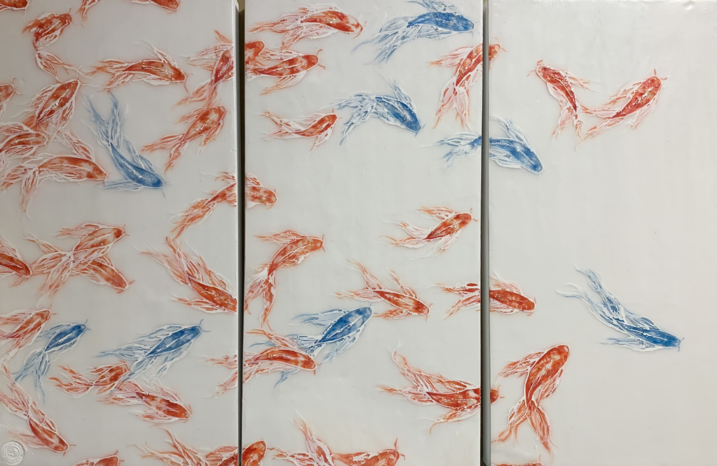 """Robin Appasamy ORIGINAL ENCAUSTIC TRIPTYCH PAINTING, SURVIVAL OF THE FITTEST (10""""X20"""" EACH PANEL)"""