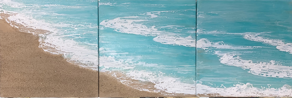"Robin Appasamy ORIGINAL ENCAUSTIC TRIPTYCH PAINTING, WALK ON THE BEACH, 10""X10""X10"""