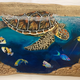 """Christian Bendo SWIMMING WITH FRIENDS (MONKEYPOD): HANDCARVED PAINTED RESINED WOODWORK, APPROX. 10""""X19"""""""