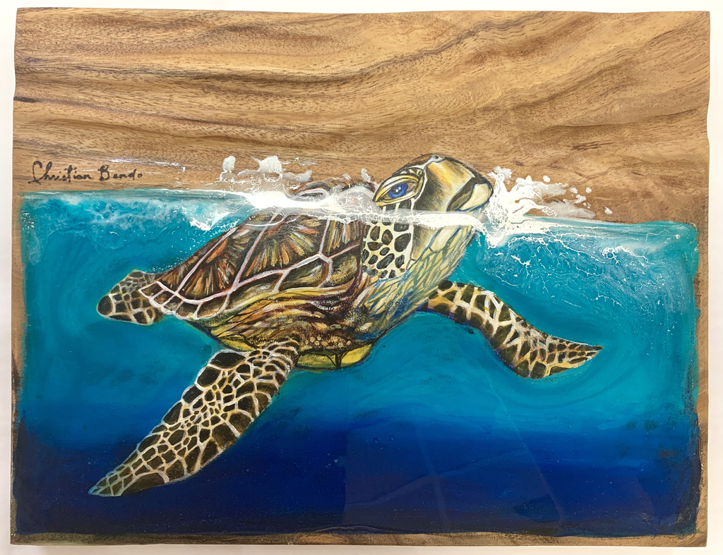 """Christian Bendo HONU CATCHING A BREATH (MONKEYPOD): HANDCARVED WOOD WALL PLAQUE- RESIN, HANDPAINTED (APPROX. 11.5""""X15"""")"""