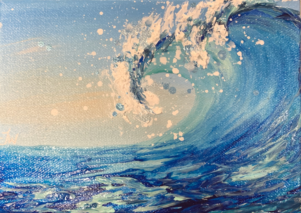 "ORIGINAL WAVE ACRYLIC & GEL PAINTING WITH MICROPLASTICS, 5""X7"""