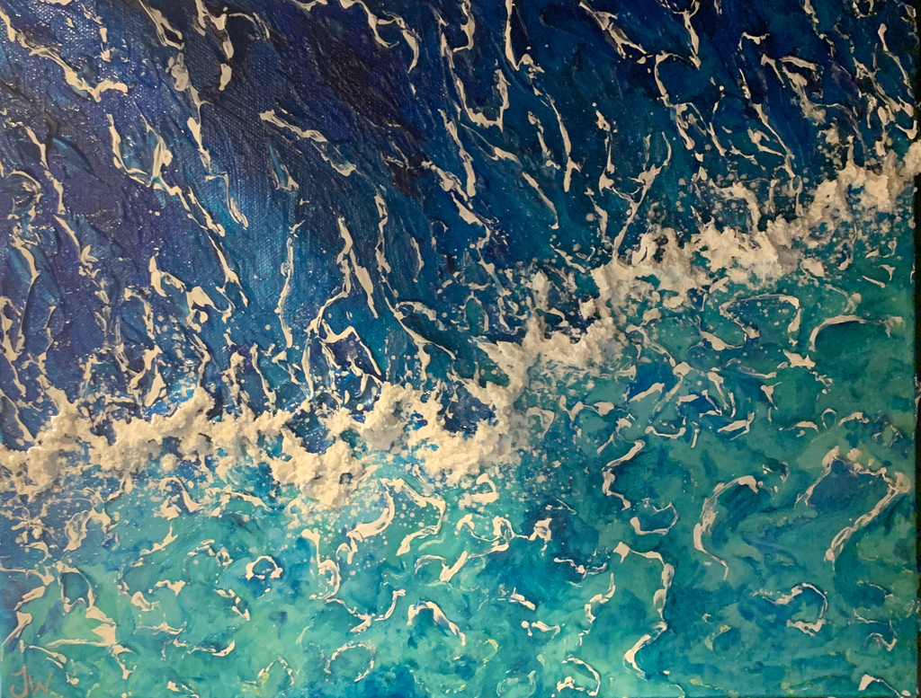 "Jenna Wellein SHALLOWS 11"" X 14"" ORIGINAL  ACRYLIC & GEL PAINTING WITH MICROPLASTICS"