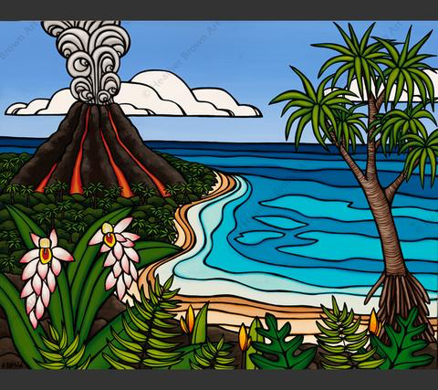 "Heather Brown ISLAND VOLCANO, 24""X30"" GALLERY WRAP GICLEE ON CANVAS, LIMITED EDITION #30/100 SO23634"
