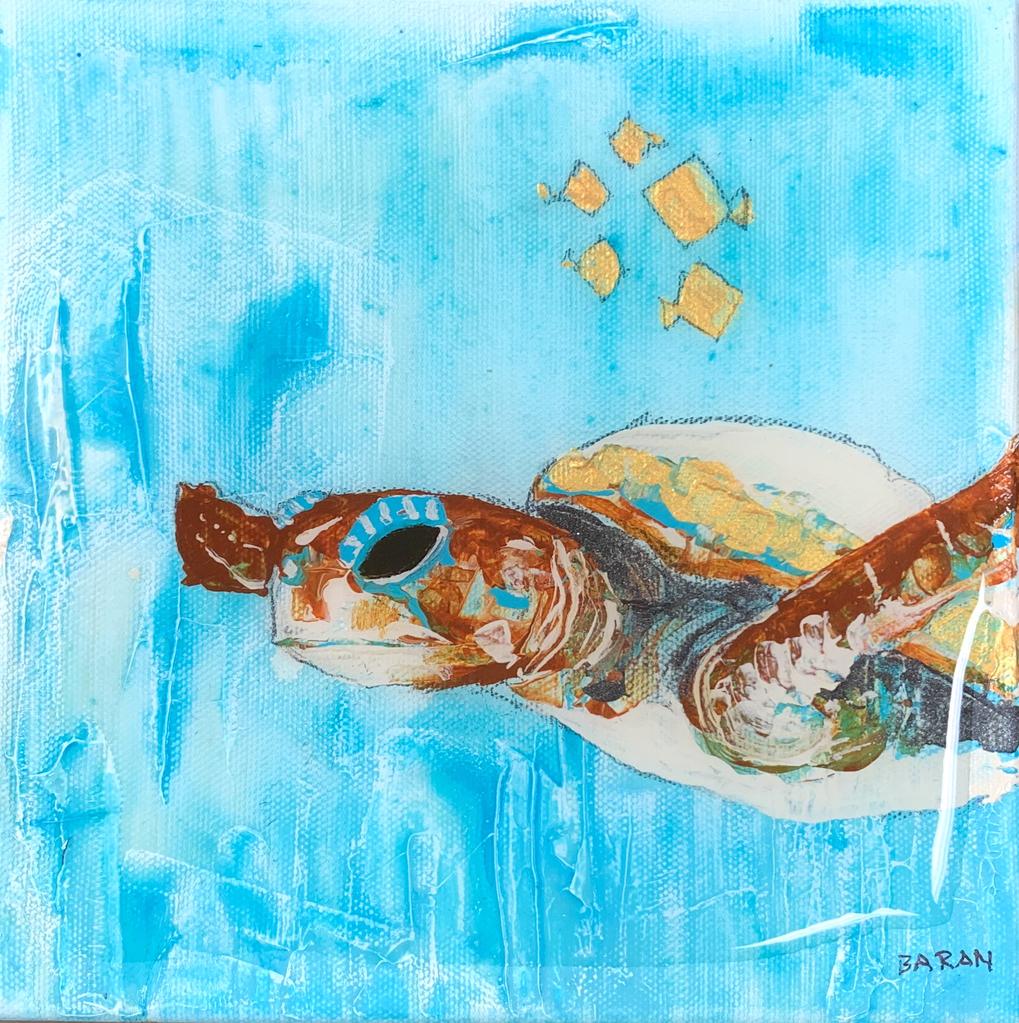 John Baran SEA TURTLE: ORIGINAL ACRYLIC PAINTING WITH RESIN, 8X8
