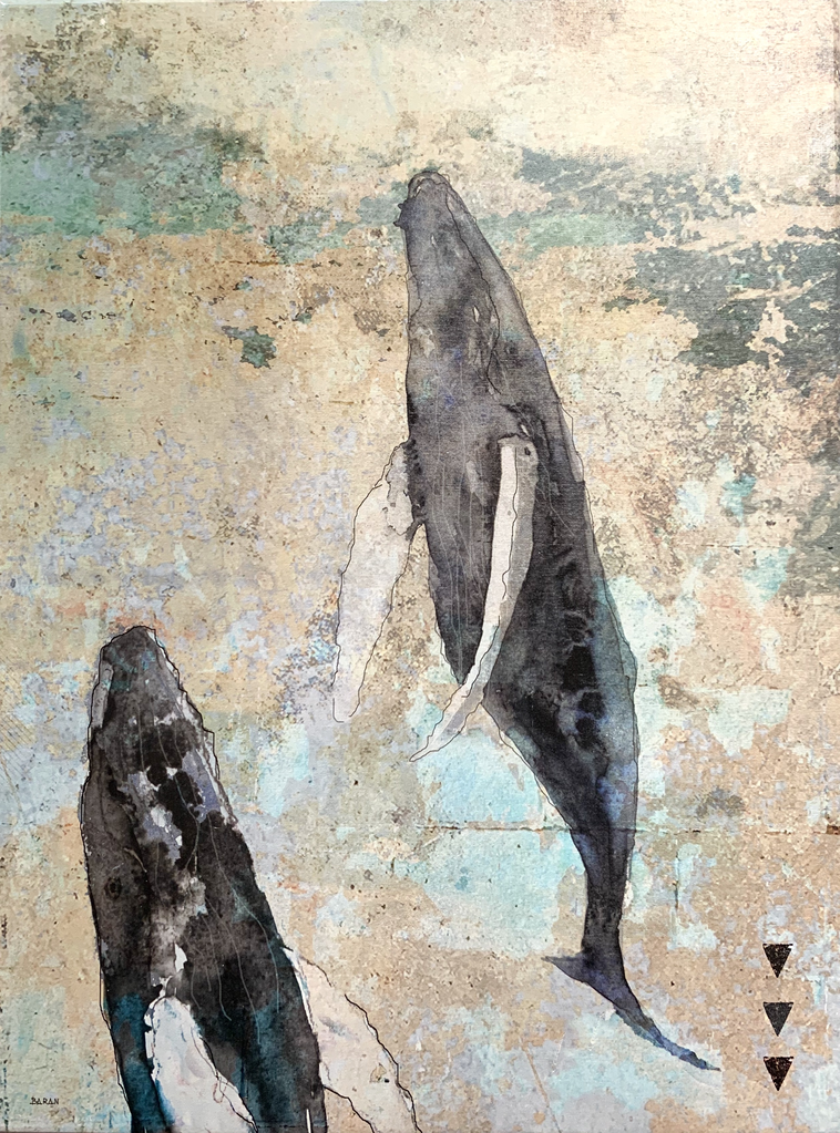 John Baran VERTICAL HUMPBACKS 1.0, 9X12 PRINT ON WOOD