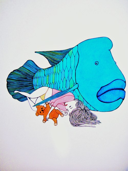 "Kris Goto VINTAGE COLLECTION ORIGINAL: ""PARROTFISH"", 2014, 24""X36"" FRAMED"