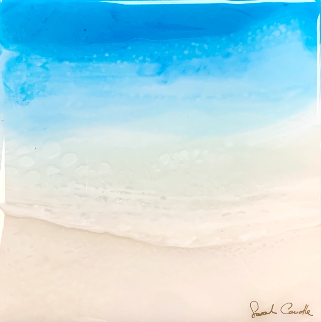 "Sarah Caudle ORIGINAL RESIN PAINTING- CLARITY 10, 8""X8"" UNFRAMED"