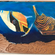 Christian Bendo TRIGGERFISH PAIR (LYCHEE), HANDCARVED WOOD WALL PLAQUE- RESIN, HANDPAINTED