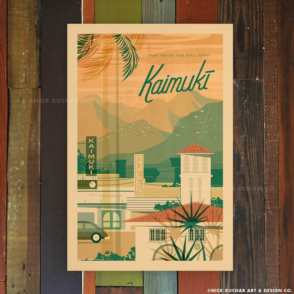 Nick Kuchar 12X18 RETRO HAWAII TRAVEL PRINT: KAIMUKI