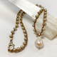 "MiNei Designs 18"" Cream Freshwater Pearls with Baroque Pendant"