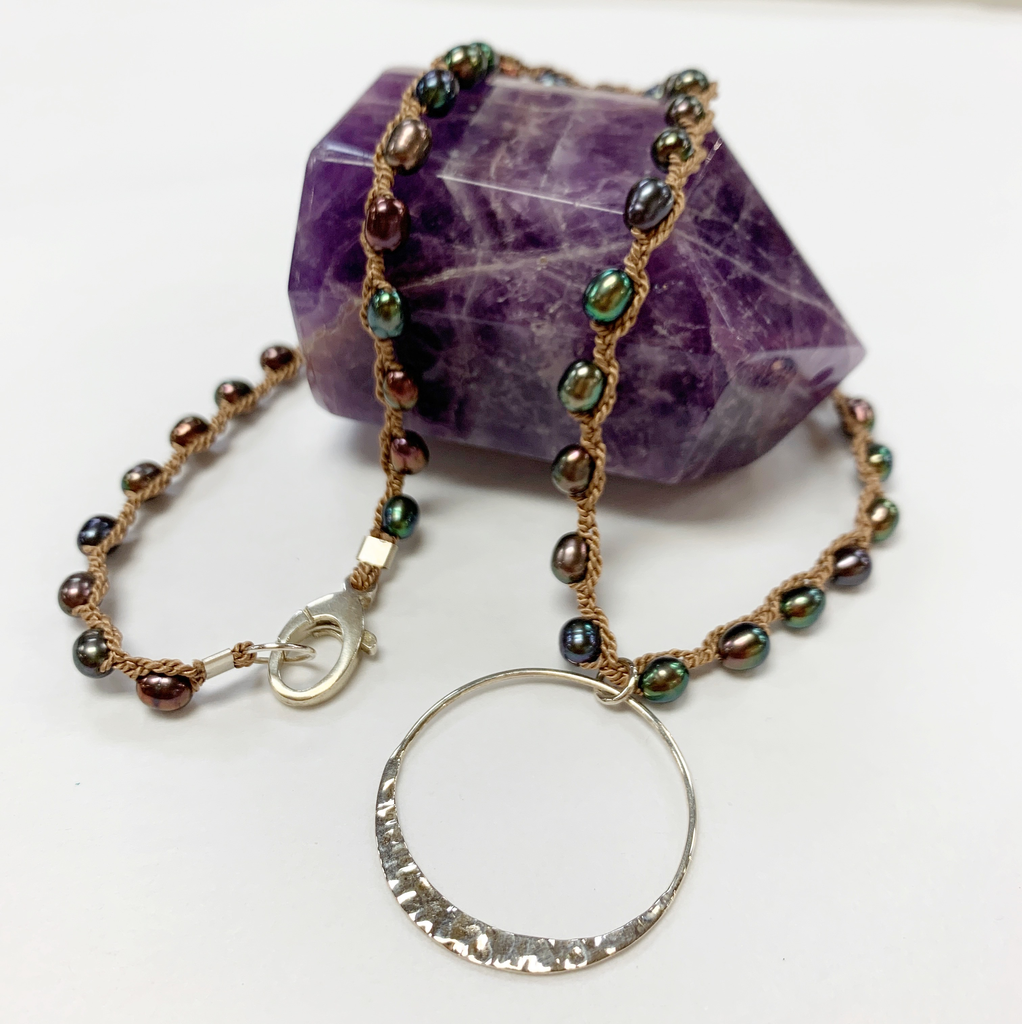 """MiNei Designs 20"""" Peacock Freshwater Pearls with Sterling Artisan Pendant"""