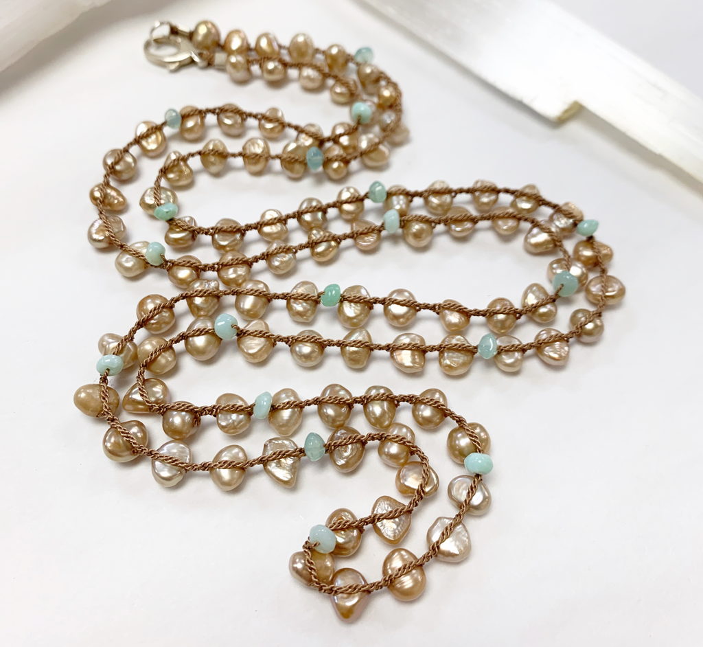 """MiNei Designs 36"""" Freshwater Pearls and Peruvian Opals"""
