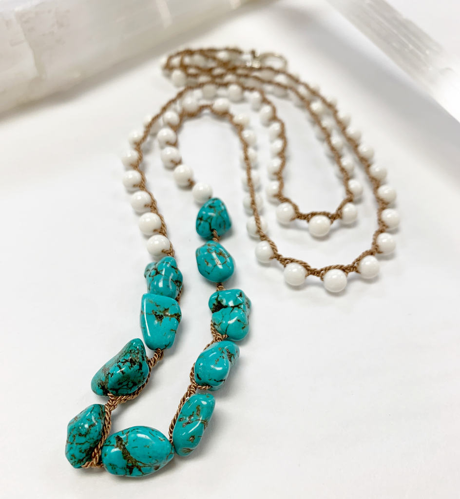 """MiNei Designs 36"""" White Coral and Turquoise Beads"""