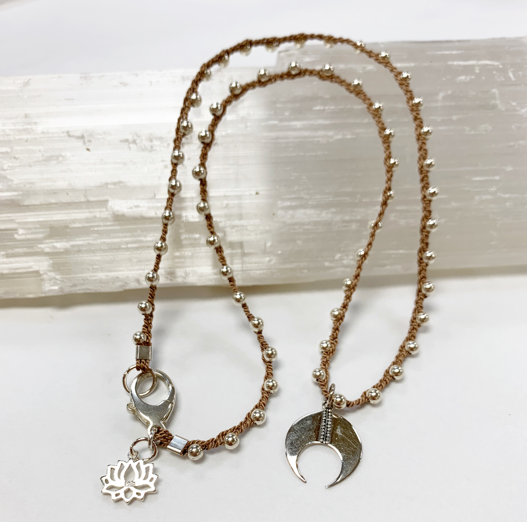 "MiNei Designs #2376 - 18"" Sterling Silver Beads w/ Sterling Artisan Pendant"