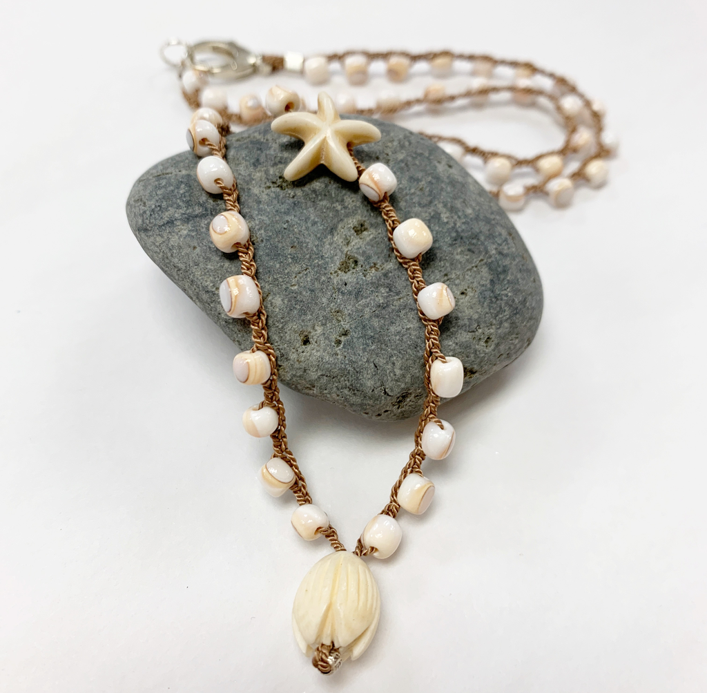 "MiNei Designs #2382 - 20"" Luhuanus Shell Beads w/ Vintage Ming's Jewelry Ivory Pikake"