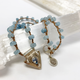 """MiNei Designs #2383 18"""" Blue Lace Agate with Sterling Moonstone Pendant"""