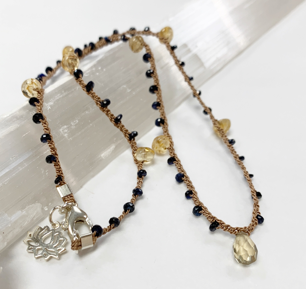 "MiNei Designs #2386 16"" Citrine and Sapphire Beads"