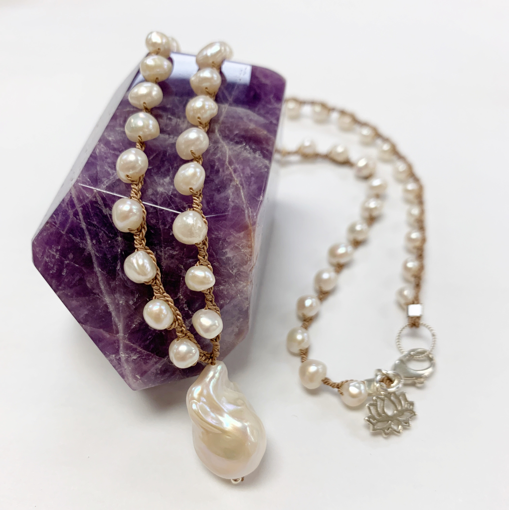 """MiNei Designs #2388 18"""" Freshwater Pearl Necklace with Mabe Pearl Pendant"""