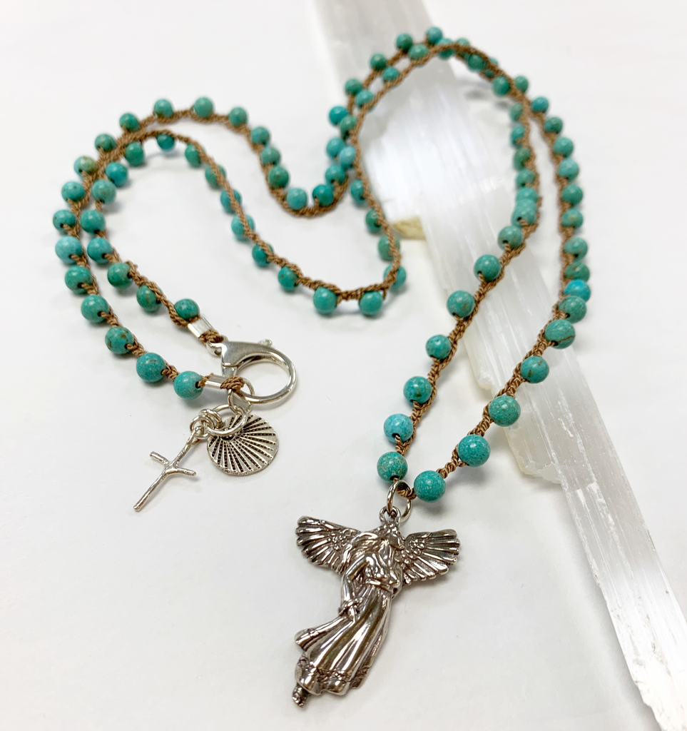 "MiNei Designs #2389  36""  Double Wrap Turquoise Bead Necklace with Sterling Angel and Sterling Cross and Urchin Charms"