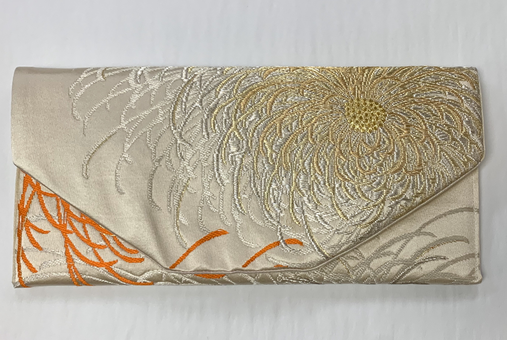 Leina Aonuma GOLD/SILVER ORANGE FLOWER ENVELOPE OBI CLUTCH
