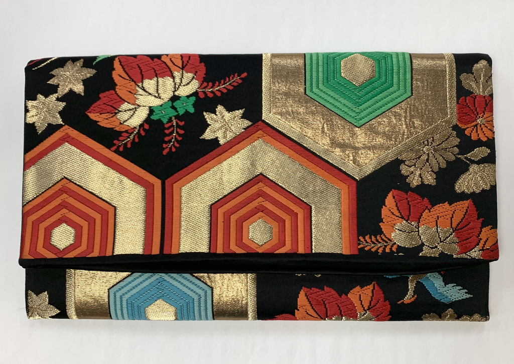 Leina Aonuma BLACK/GOLD/RED GEOMETRIC OBI CLUTCH