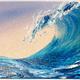 "Jenna Wellein SUNRISE WAVE, 5"" X 7"" ORIGINAL  ACRYLIC & GEL PAINTING WITH MICROPLASTICS"