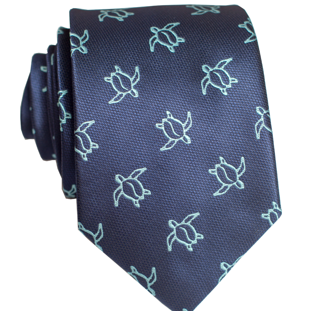 Pineapple Palaka Honu Big Blue: Modern Necktie