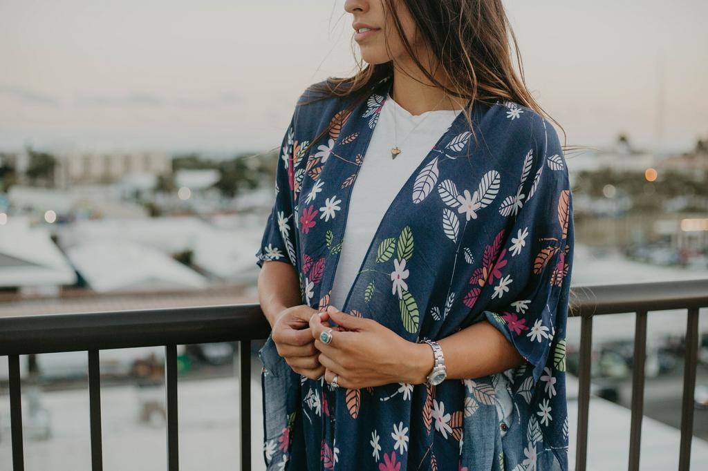 Pineapple Palaka Gardenia Blue Kimono