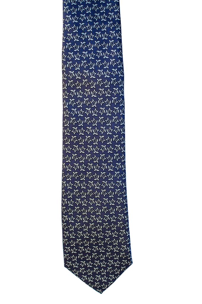 Pineapple Palaka Honu Blue v3: Modern Silk Necktie