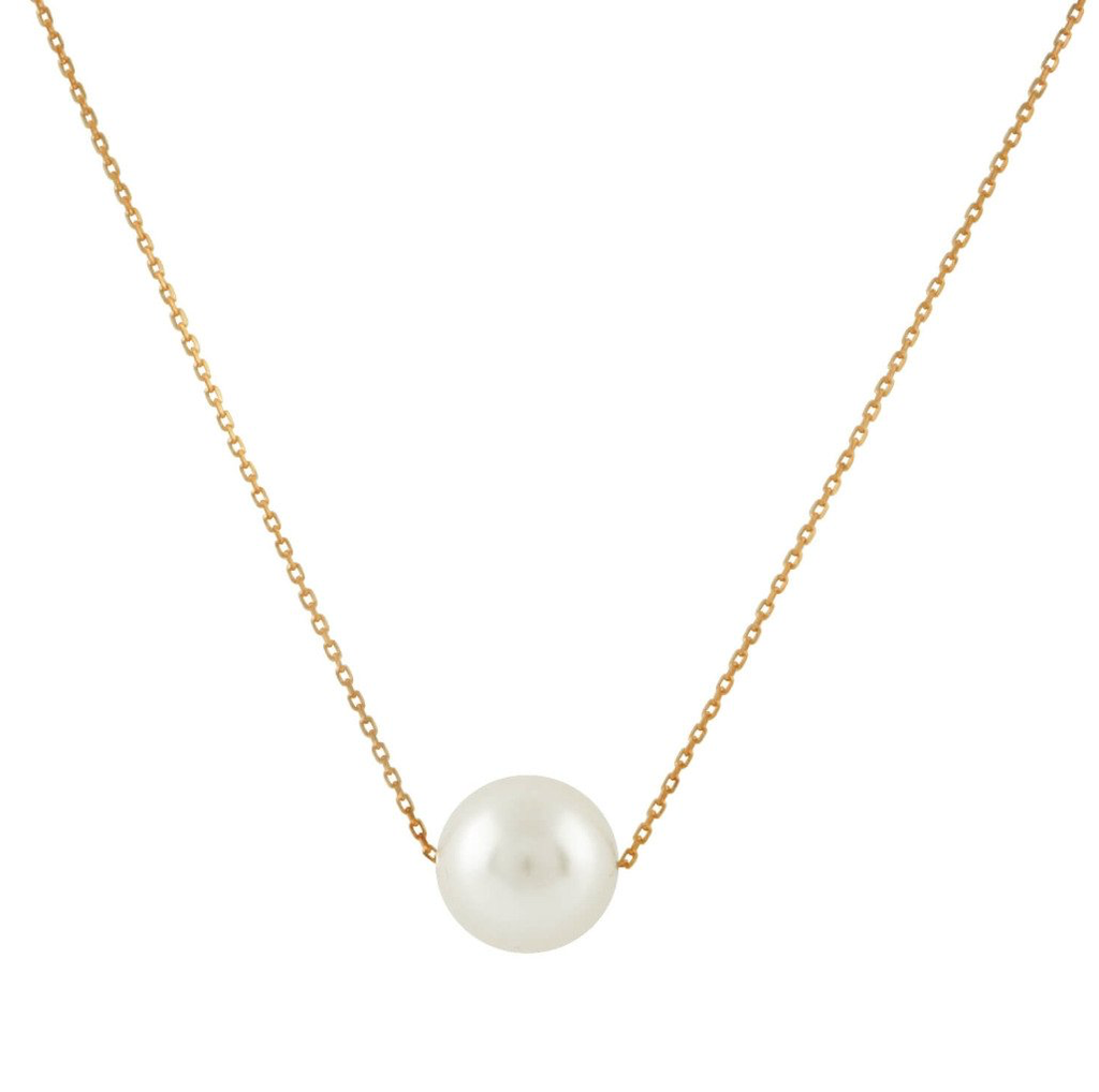 """Misha Lam Floating Freshwater Pearl Necklace - 18"""" 14KT Gold Filled Chain with 11mm pearl"""