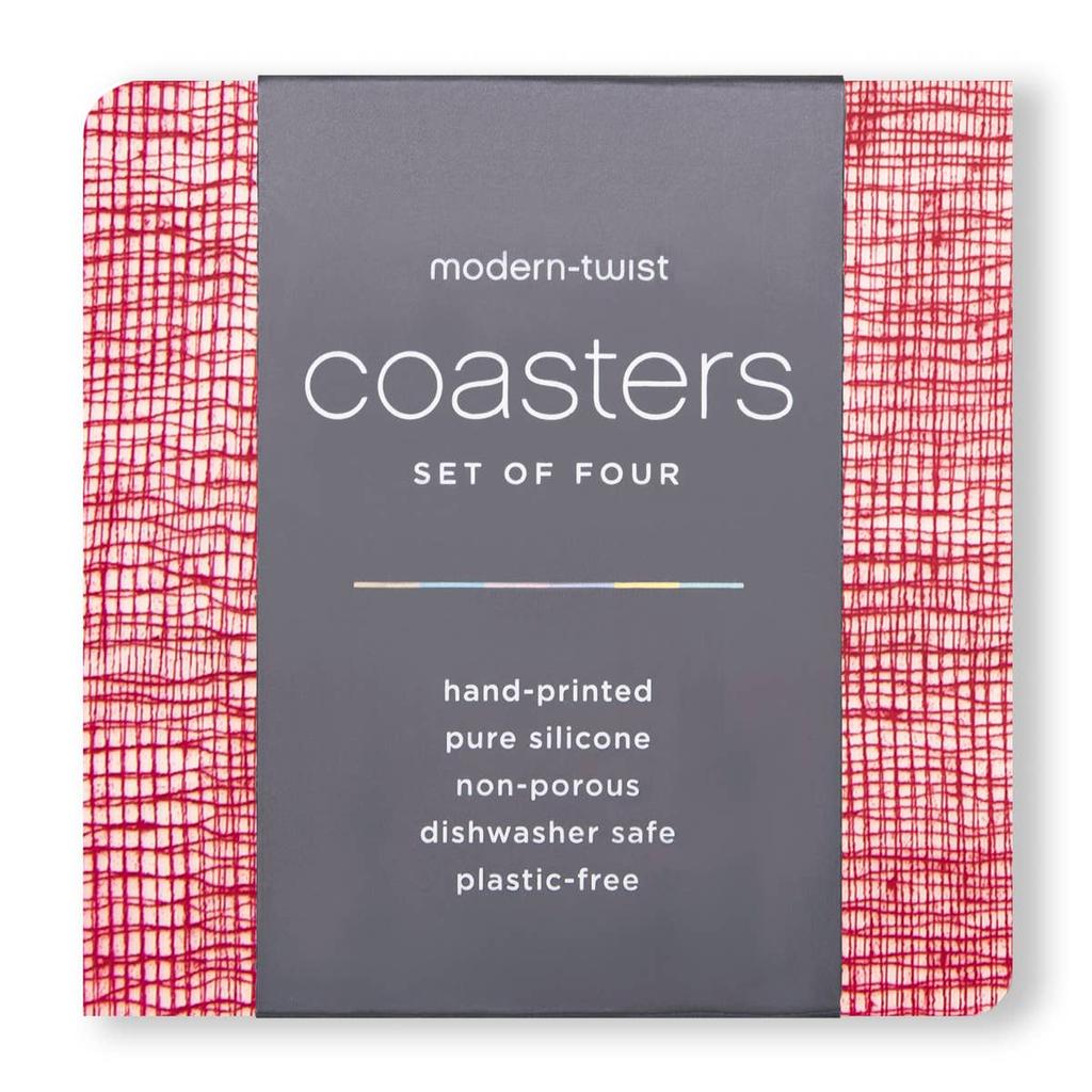 Modern Twist COASTERS: LINEN CRANBERRY