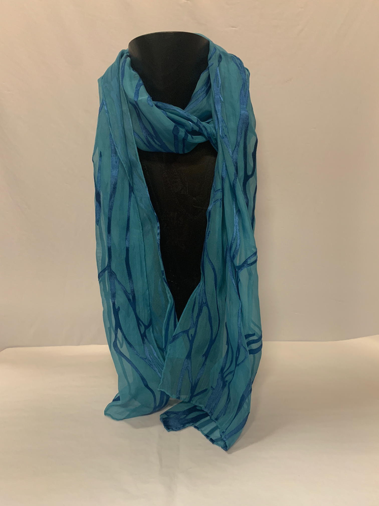 Hana Lima Hand Dyes Hand Dyed Scarf (no tassles) - Blue Vines