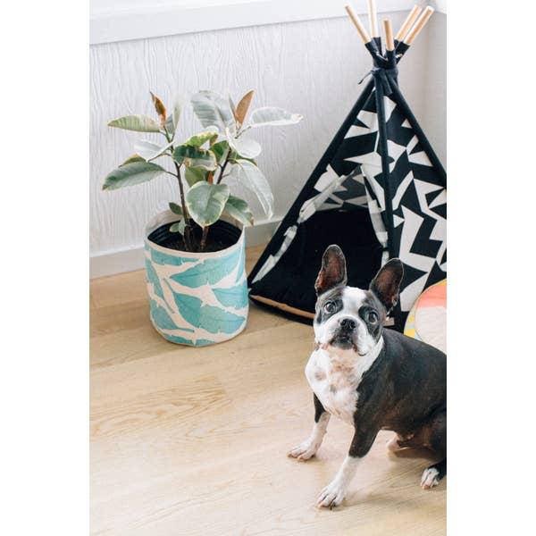 "Sax Home 6"" MED. FABRIC/CANVAS PLANTER - Blue & Green Banana Leaf Plant Sax - Jana Lam"