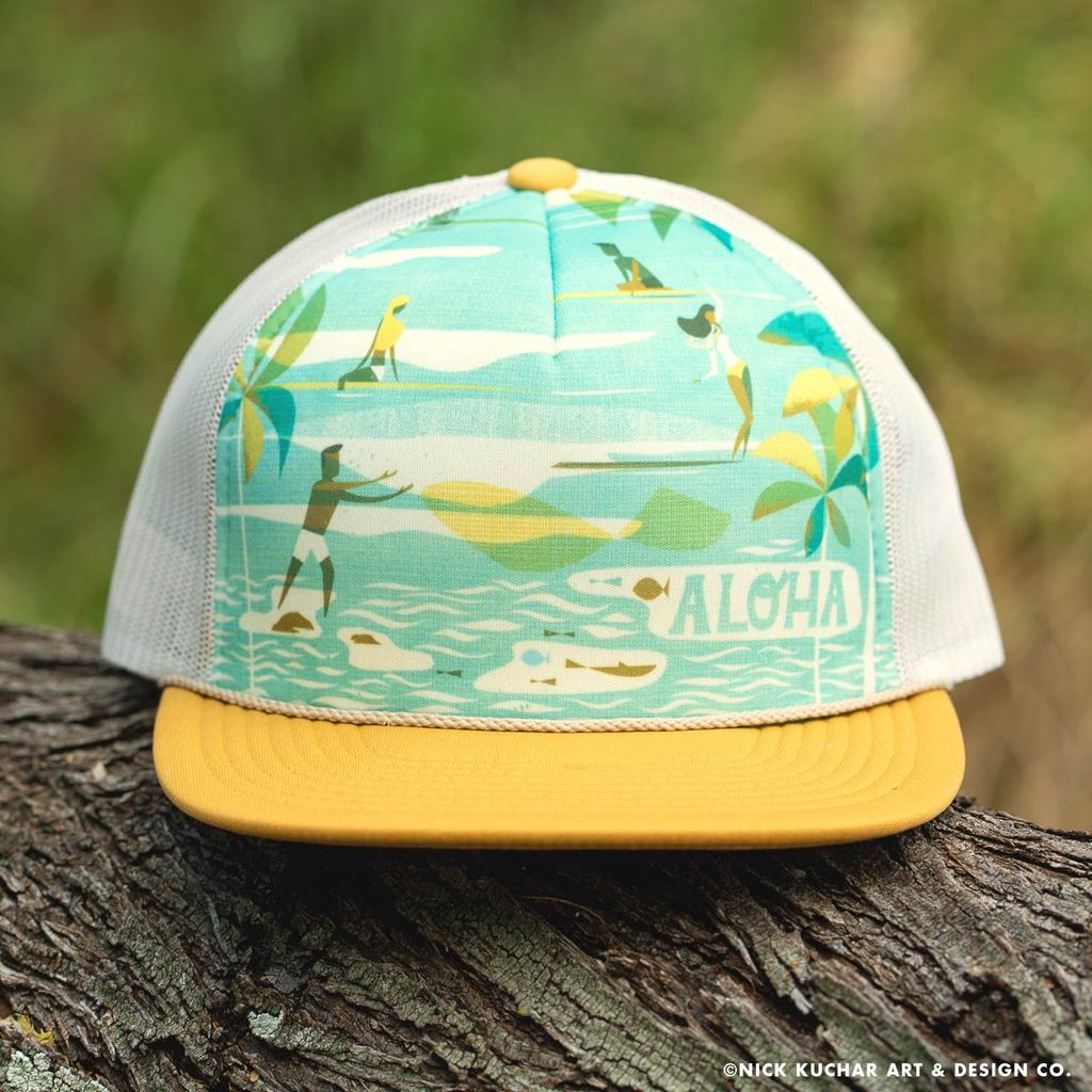 Nick Kuchar FOAM TRUCKER HAT - HOLOHOLO - SUNSET YELLOW