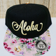 Route 99 Hawaii ALOHA FLORAL HAT - Black with Yellow Aloha