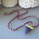 """MiNei Designs #2011  22"""" Ruby Jade Beads with Silver Edged Amethyst Charm"""