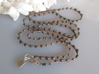 "MiNei Designs #2311   32""  Black Rice Pearl Necklace"