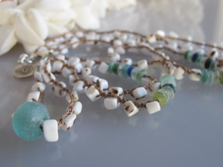 """MiNei Designs #2313  32"""" Cowry Shell Beads with Beach Glass Disc Beads and African Glass Bead Necklace"""
