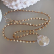 """MiNei Designs #2357  20"""" Bone Beads with Mabe Pearl"""