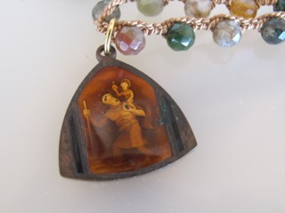 """MiNei Designs #2362A  16"""" Faceted Jasper with Catholic Pendant"""