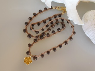 """MiNei Designs #2366  16"""" Wood Beads with Gold Lotus Blossom"""