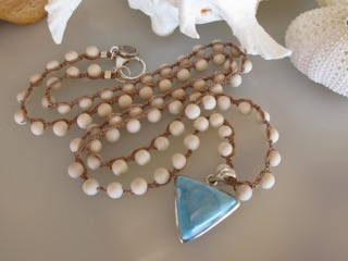 """MiNei Designs #2369  30"""" Riverstone Beads with Sterling Silver Larimar Pendant"""