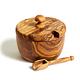 Natural Olive Wood SUGAR/SALT JAR WITH SCOOP