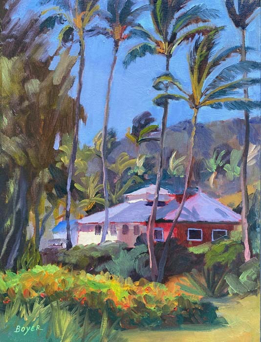 "Lynne Boyer WINDWARD SWAYING PALMS, 12"" X 16"" ORIGINAL OIL ON CANVAS W/ OMEGA FRAME"