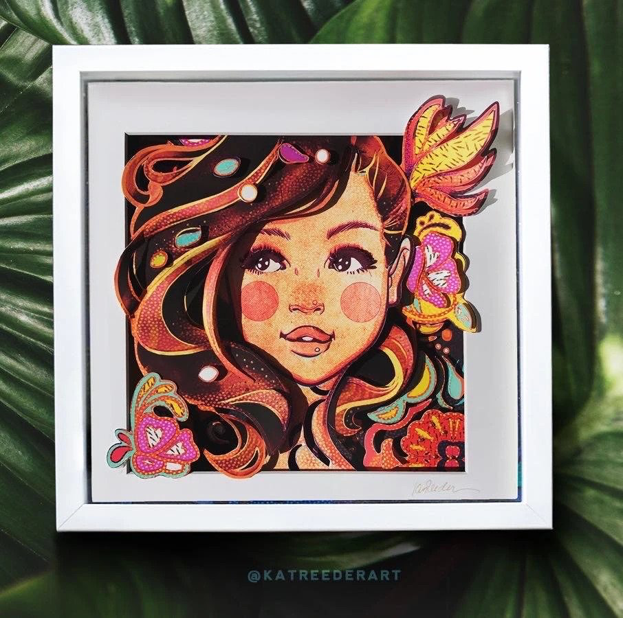 """Kat Reeder 3D POP IN SHADOW BOX (APPROX 13"""" X 13""""):BROWN EYED GIRL"""