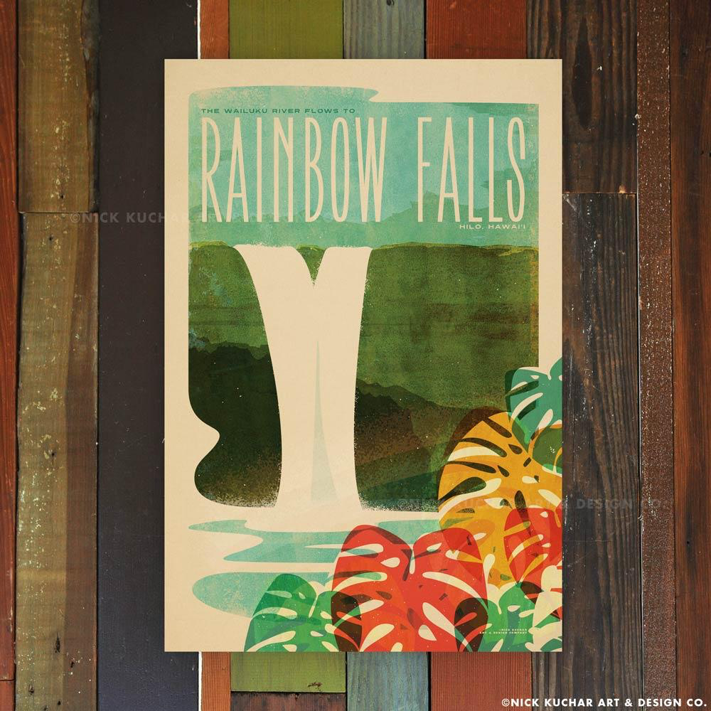 Nick Kuchar 12X18 RETRO TRAVEL PRINT: RAINBOW FALLS BIG ISLAND