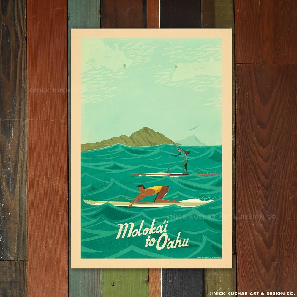 Nick Kuchar 12X18 RETRO TRAVEL PRINT: MOLOKAI TO OAHU