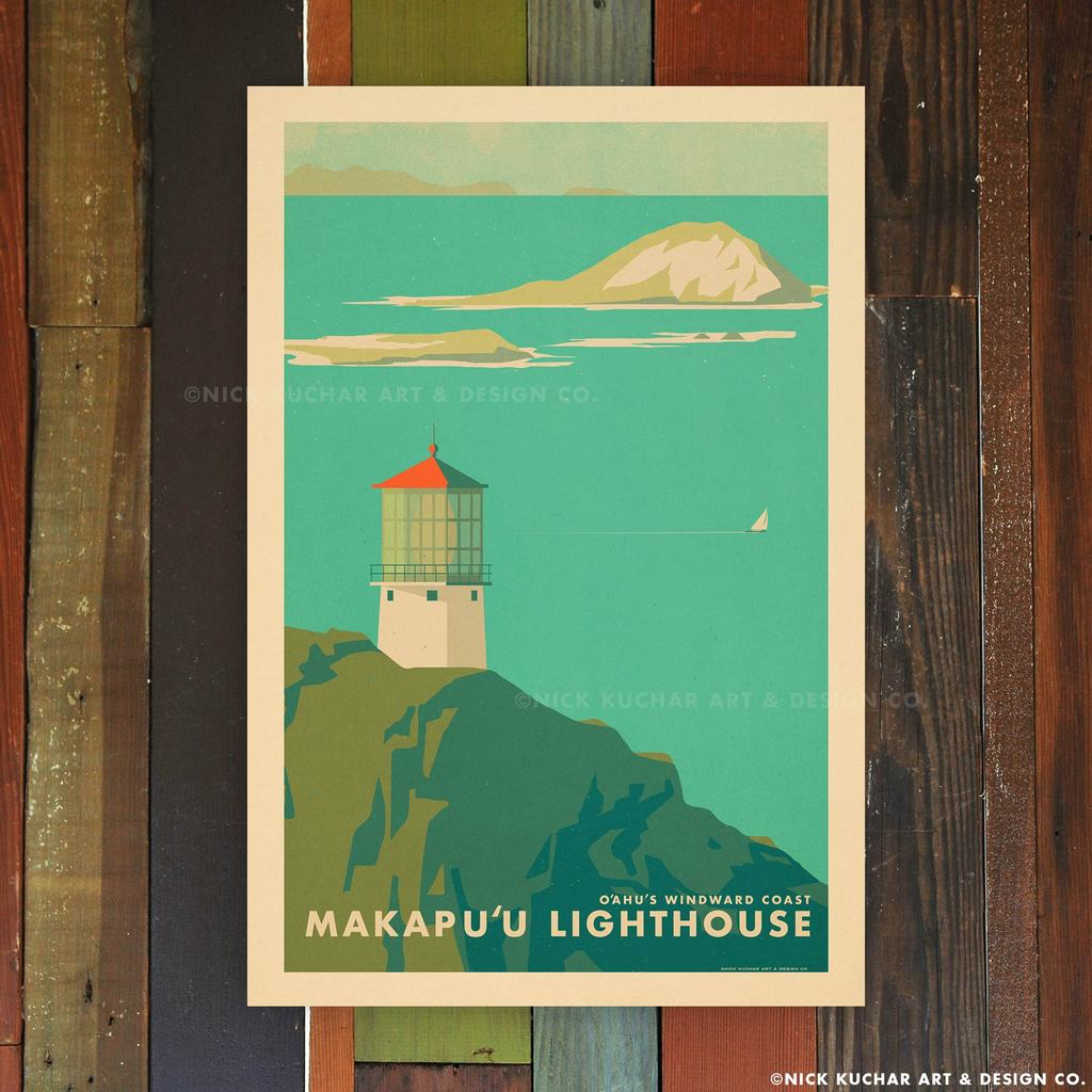 Nick Kuchar 12X18 RETRO TRAVEL PRINT: MAKAPUU LIGHTHOUSE, OAHU