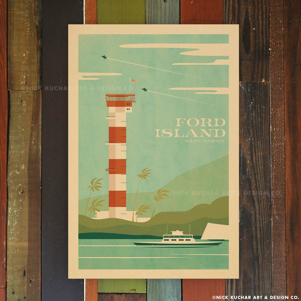Nick Kuchar 12X18 RETRO TRAVEL PRINT: FORD ISLAND, OAHU