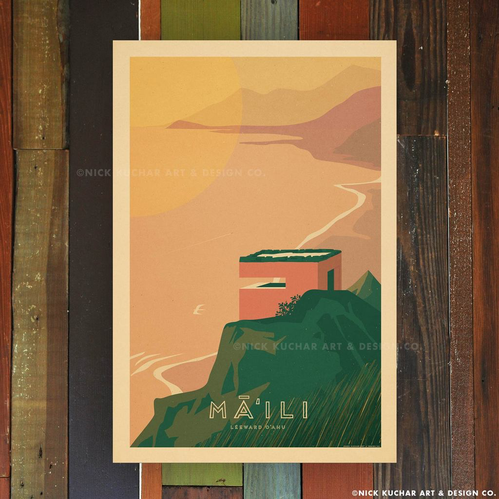 Nick Kuchar 12X18 RETRO TRAVEL PRINT: MAILI, OAHU